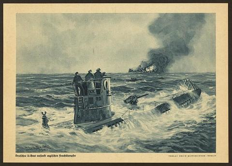 Artist's print showing German sailors standing on the conning tower of a U-boat on the ocean's surface after sinking a cargo ship
