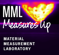 Thermographic image of polymer extrusion with MML Measures up logo