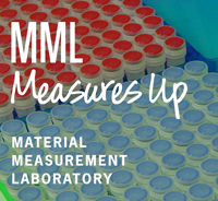 MML Measures Up logo on background of test tubes