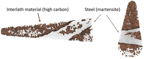 Laser-assisted atom probe tomography of weld region showing high-carbon interlath material with an isoconcentration surface of nominally 0.8 at. % embedded in martensite steel.  Image shows a tip from two viewpoints that is mostly interlath material.
