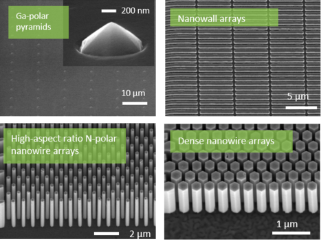 Four examples of GaN nanostructures grown with selective epitaxy by molecular beam epitaxy, illustrating different morphology for Ga-polar vs. N-polar crystals.