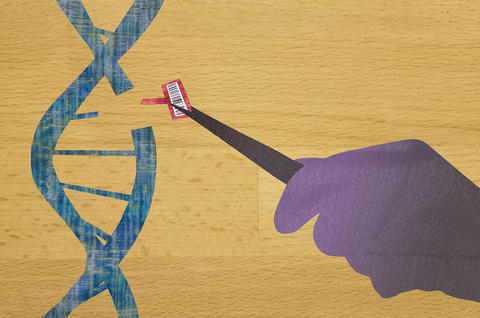 Artwork shows a hand with tweezers inserting a piece of DNA in a larger strand. The smaller piece has a black and white barcode attached.