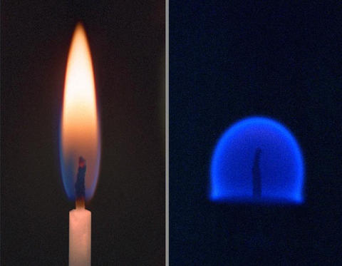 Two candle flames are seen, one in Earth's gravity which is long and pointed and the other in microgravity, which is spherical.