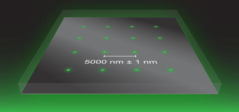 Graphic showing equally spaced openings at the nanometer scale on a flat surface