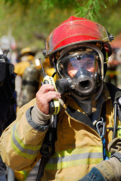 Stock image of a firefighter