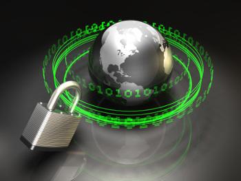 Lock and globe graphic