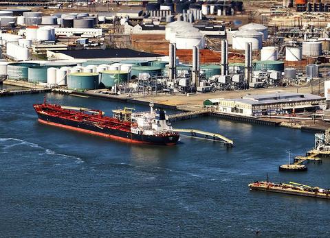 Oil transfer ship in port