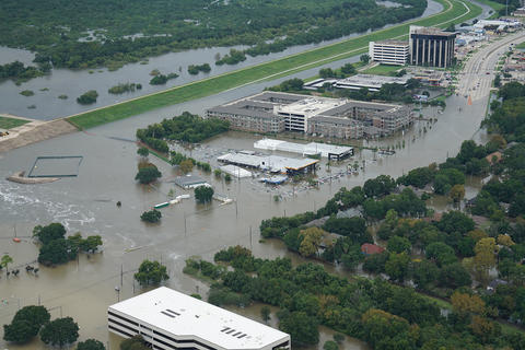 Building surrounded with flood waters