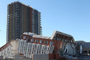 collapsed building in Chile.