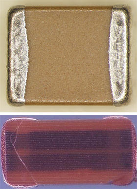 3-millimeter-long capacitors (top photo), NASA photo showing cracks(bottom)