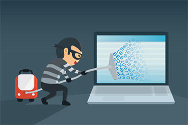 Cartoon of thief vacuuming info from a computer screen