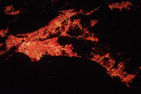 View of Los Angeles at night from the International Space Station. Credit: NASA