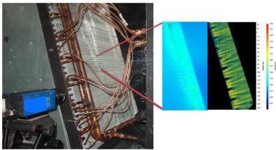 Measurement of the air velocity profile exiting a section of the rooftop air-conditioning unit's heat exchanger