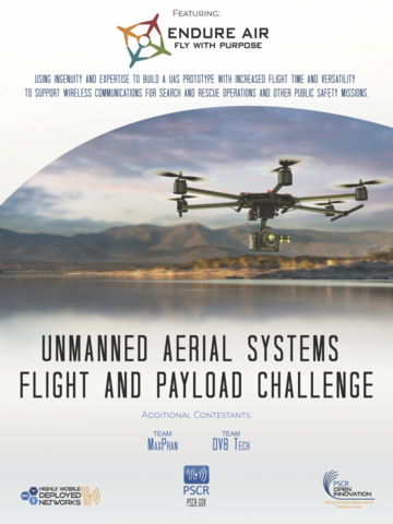 movie poster highlighting the team EndureAir with their logo and a photo of a drone over the horizon