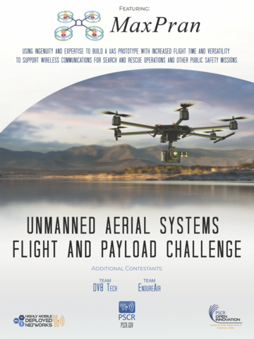 movie poster featuring team MaxPran's logo and a photo of a drone over the horizon