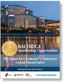 The 31st Baldrige Quest Sponsorship Opportunities brochure cover showing a photo of the Gaylord National Harbor Hotel.