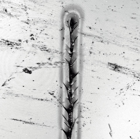A photomicrograph showing a finger-shaped, nanosized scratch in an auto body coating material.