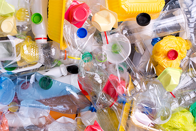 Plastics awaiting recycling