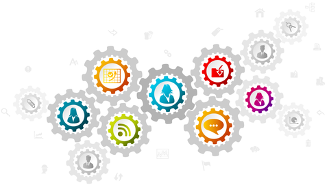 Systems perspective illustration with business icons in gears