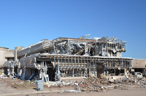 Building that has been destroyed by a tornado