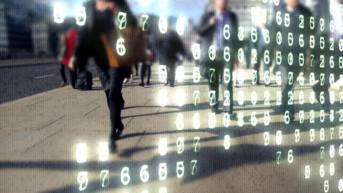 Image of people walking on a sidewalk with data numbers in the forefront