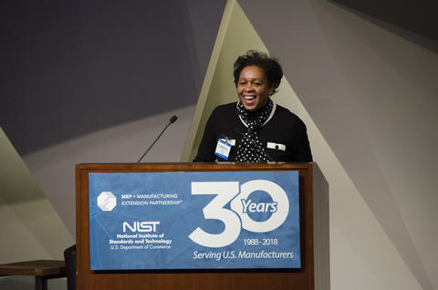 NIST MEP Director Carroll Thomas speaking at the 30th anniversary event