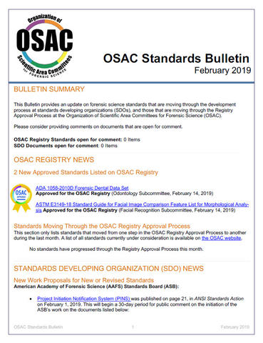OSAC Standards Bulletin Feb 2019