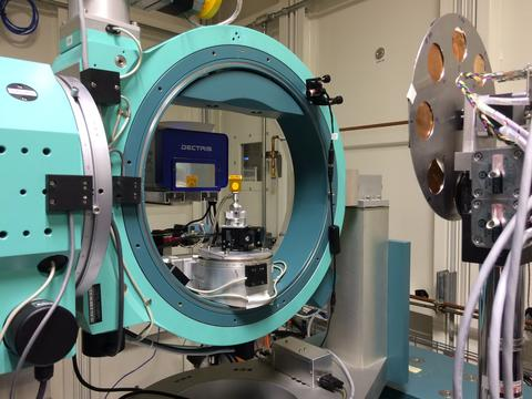 View of the sample area in the X-ray Diffraction (XRD) end station on the Beamline for Material Measurement (BMM).