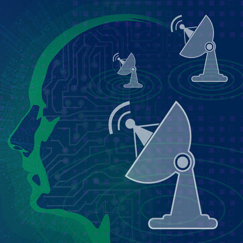 blue background. Robotic head with overlay of 3 radar icons