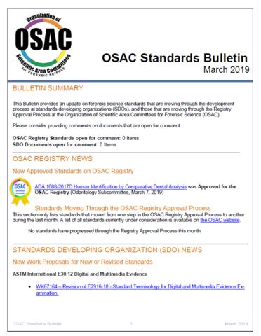 OSAC Standards Bulletin, March 2019