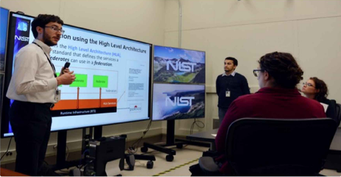 NIST researches explain Testbed operations to visitors