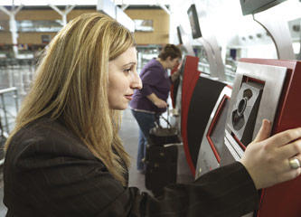 woman standing at iris recognition