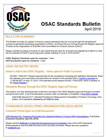 OSAC Bulletin April 2019