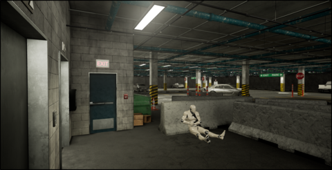 Law Enforcement Virtual Reality Environment in a parking garage shooter scenario