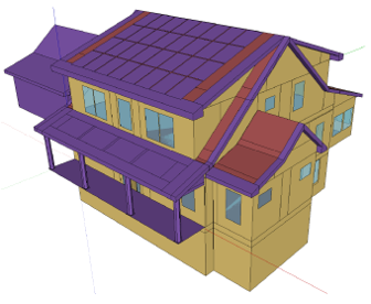 A colored diagram of a house, with purple roof and yellow walls.