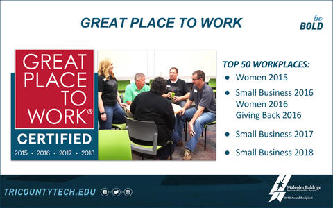 Tri County Tech Great Place to Work Certified showing group of employees. Top 50 Workplaces: Women 2015; Small Business, Women and Giving Back 2016; Small Business 2017; and Small Business 2018.