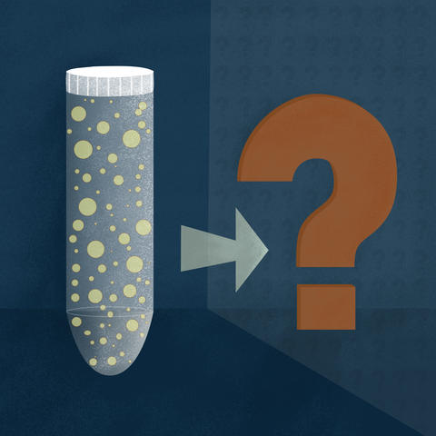 A test tube is filled with spherical particles, with an equal sign and a question mark next to it.