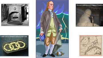 Collage of Benjamin Franklin related images