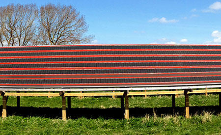 A demonstration solar park based on polymer solar cells at the Technical University of Denmark in Roskilde, Denmark.