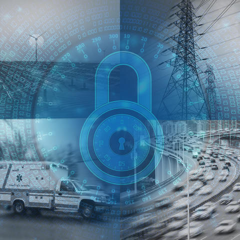 Illustration with four photos: solar field, power tower, highway and ambulance with a lock graphic in the middle
