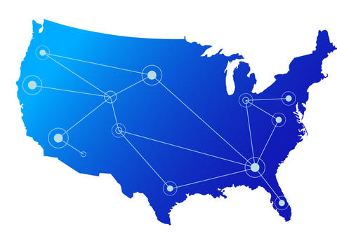 U.S. map with lines connecting to circles, symbolizing a network of communities.