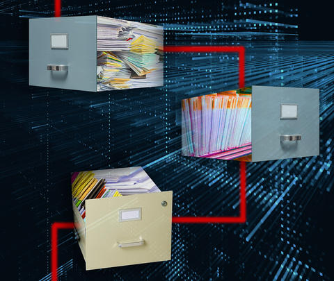 An illustration of three file cabinets connected by red lines to convey the metaphor of blockchain technology