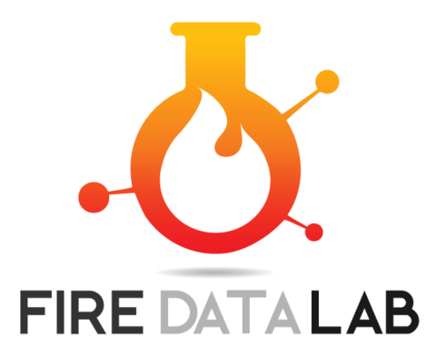 Orange logo with a flame in the middle and the text Fire Data Lab beneath it