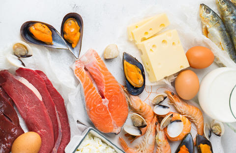 photo collage of meats, cheese, eggs, fish, and shellfish