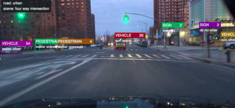 A screenshot of the ETA software displaying its ability to recognize vehicles.