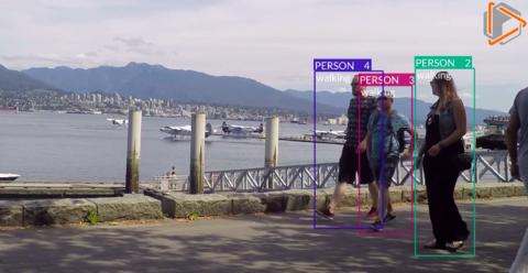 A screenshot of the ETA software recognizing people walking.