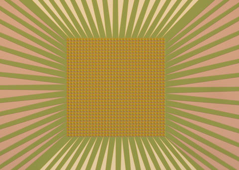 Square checkerboard with 32 squares on each side surrounded by sunbeam-like lines emanating out from around the board.