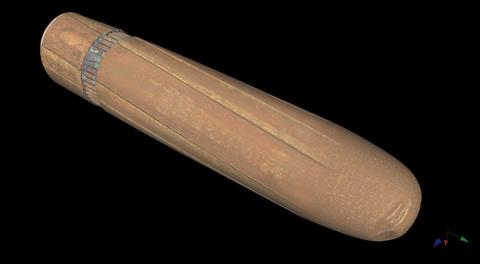 Digital image shows bullet with long grooves.