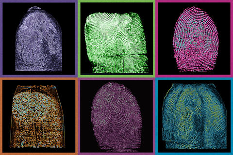Grid showing six fingerprints in different false colors.