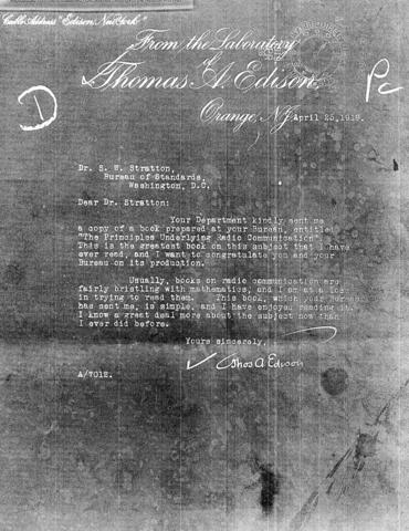 copy of a letter written by Thomas Edison